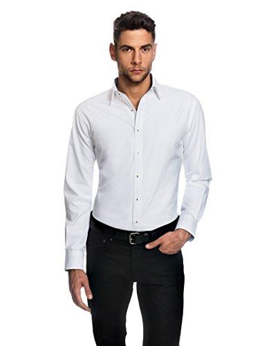 Embraer Herren-Hemd Slim-Fit tailliert bügelfrei 100% Baumwolle Uni-Farben - Männer lang-arm Hemden für Anzug Krawatte Business Hochzeit Freizeit weiß 41/42