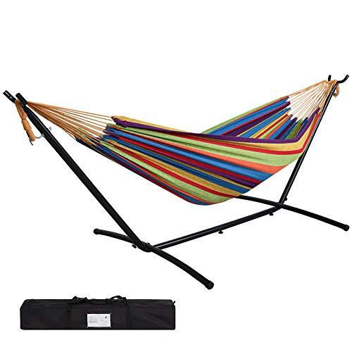 Prime Garden 9' Double Hammock with Space Saving Steel Hammock Stand, Rainbow Stripe