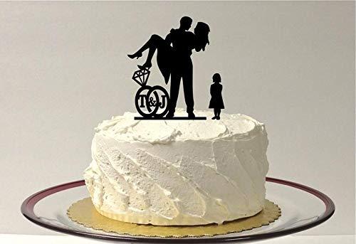 Meisje Kind + Bruid + Groom Gepersonaliseerde Bruiloft Taart Topper met Uw Initialen in een Bruiloft Ring Ontwerp Silhouette Taart Topper