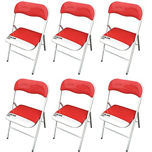 Milani Home s.r.l.s. Set di 6 Sedie Slim Pieghevoli Rosse Color 186 con Comoda Imbottitura nella Seduta per Ospiti, Ufficio, Casa, Campeggio