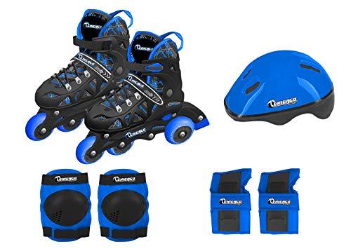 Chicago Skates Boys Inline Training Skate Combo Set - Blue - Medium Sizes 1-4