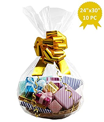 Wowfit Cello Bags,10 CT 24x30 inches Clear Cellophane Bags Perfect for Gift Baskets, Presents, Weddings, Bridal/Baby Showers and More (1.2 Mil, Flat, No Gusset, 24x30 inches, Not Include Ribbon)