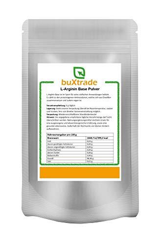 2 x 500 g L-Arginin Base Pulver | reine Aminosäure | Hochdosiert | Nahrungsergänzungsmittel | Ohne Zusatz | 1 kg