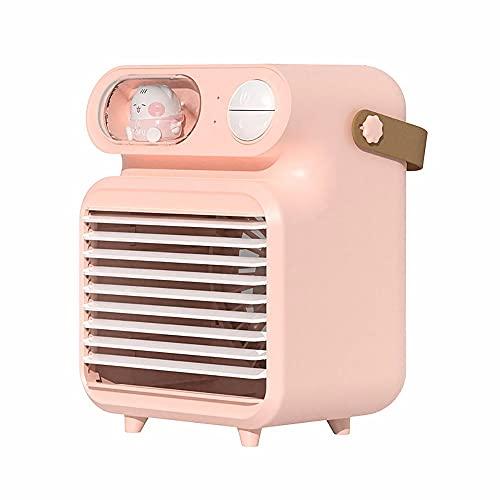 LAMCE Umidificazione Desktop e Raffreddamento ad Acqua Piccolo Ventilatore Mini Fumetto Nebbia Luce Notturna Ventilatore Aria condizionata Dispositivo di Raffreddamento Portatile USB Pink