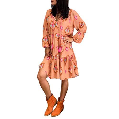 Damen Kleider Sommer Herbst V Ausschnitt Lange Ärmel Strandkleid Jeanskleid Stretch Großer Größe Boho Polyester Feder Bedruckt Partykleid Unregelmäßiges Freizeitkleid Langes Kleid (EU:42, Orange)
