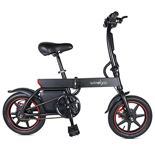 """Mangoo Bicicleta eléctrica, Bicicleta eléctrica Plegable con Motor de 350W, Bicicleta eléctrica de 14""""para Adultos, 25 km/h, batería de Iones de Litio de 36V 6.0 AH"""