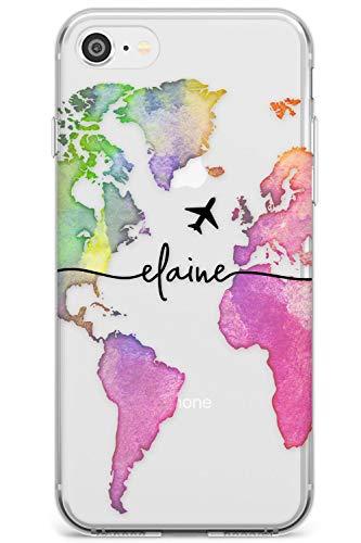 Acquerello Personalizzato World Map Arcobaleno Slim Cover per iPhone 7 Plus TPU Protettivo Phone Leggero con Wanderlust Viaggiatore Personalizzati