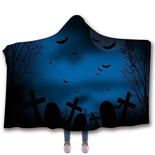 Manta con capucha Manta impresa para Halloween Manta de terciopelo ártico espesa doble Manta para dormir suave y cálida,B,130 * 150cm