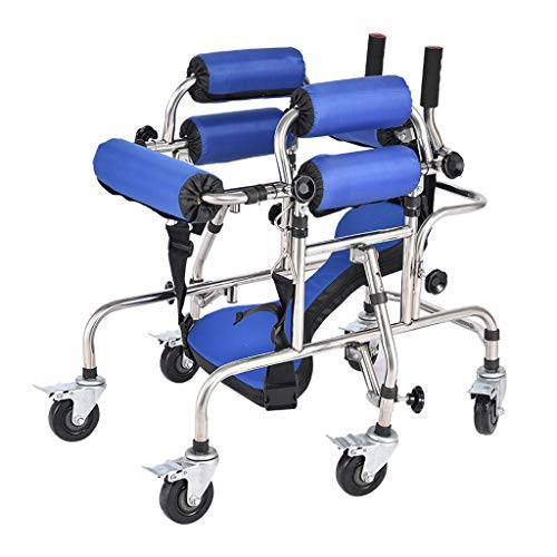 Walker Stehende Gehhilfe für Kinder mit Universalrad, Rutschfester Handlauf, höhenverstellbare Zerebralparese-Rehabilitationstraining, Stehrahmen - behindert