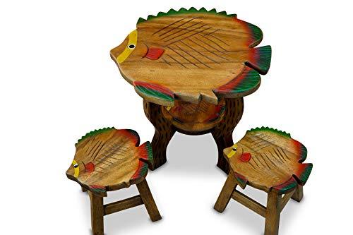 Juego de mesa y taburetes infantiles de acacia, 45 cm de alt