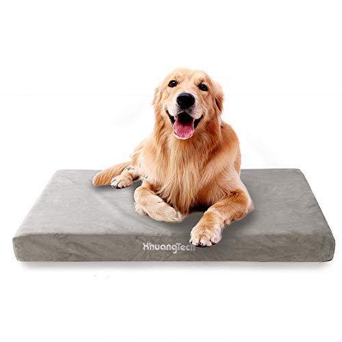XhuangTech Cama ortopédica para perro grande – Colchón impermeable de espuma viscoelástica para perro con funda suave lavable, gris, 100 x 72 x 8 cm