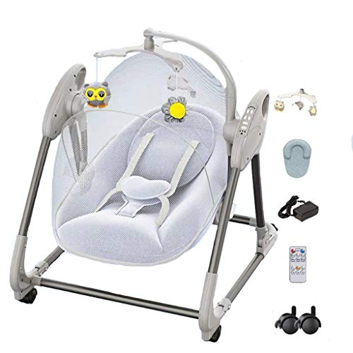 Strele Soothing Portable Baby Swing,Comfort Electric Bluetooth Baby Rocking Chair with Remote,Intelligent Music,Wheels,Toys,Mosquito Nets,Pillows,blue