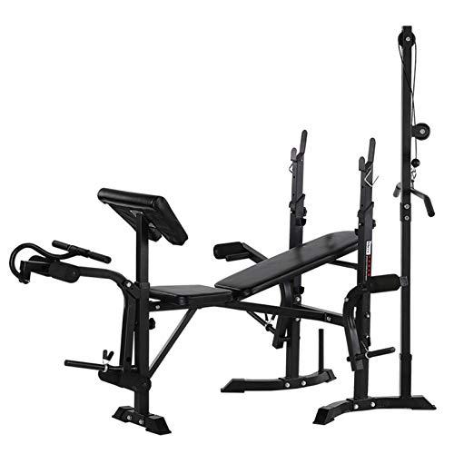 WDXLT Workout Bench Set,Utility Ergonomischem Hantelbänke,Durchlässig Dickem Flachbank,Gewichtheben Sit-ups Pressebank,Mit Rack