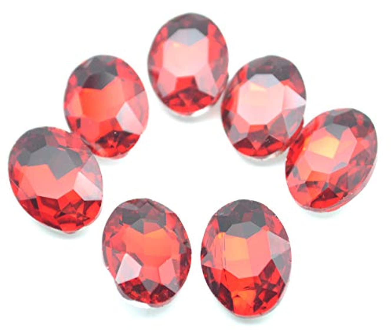 Catotrem Oval Rhinestone Glass Faceted Diamond Circle Silver Pointback Beads for Charm Jewelry 13X18mm 50pcs(Red)