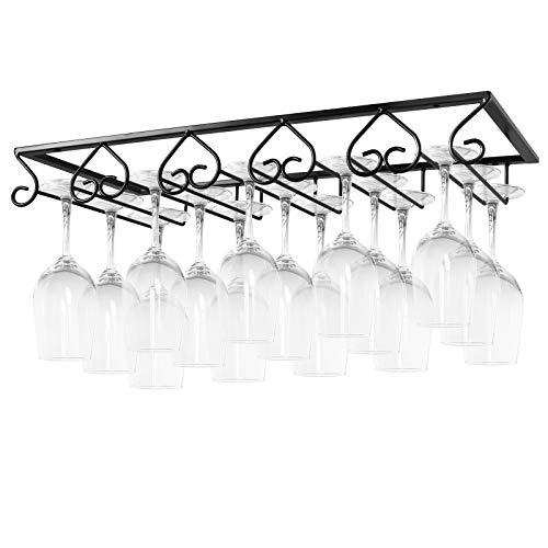 MOCOUM Wine Glasses Rack Under Cabinet Stemware Rack Wine Glass Hanger Rack Wire Wine Glass Holder Storage Hanger for Cabinet Kitchen Bar Black 5 Rows 1 Pack