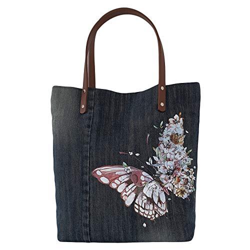 Grosse Shopper Tasche mit Schmetterling Handgemachte Schultertasche mit Ledergriffen braun blau Denim Tasche mit Griffen für jeden Tag Geschenk für Mama Frauen Mädchen Shopping