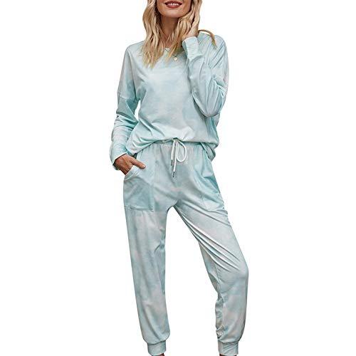 Pijamas Degradados De OtoñO E Invierno para Mujer, Pantalones De Manga Larga con TeñIdo Anudado, Traje De Dos Piezas para El Servicio A Domicilio