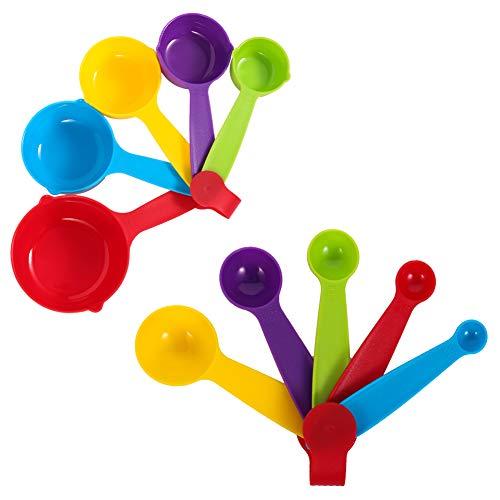 metagio Plastik Messlöffel Cup, Messbecher und Löffel, Messbecher Kunststoff Messlöffel Multifunktions für Küche Kochen Backen, Spülmaschinenfest (5 Messbecher +5 Löffel)