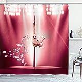 ABAKUHAUS Komisch Duschvorhang, AFFE auf Einem Pole Whiskey, Set inkl.12 Haken aus Stoff Wasserdicht Bakterie & Schimmel Abweichent, 175 x 180 cm, Magenta Hellbraun & weiß