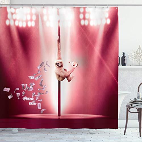 ABAKUHAUS Komisch Duschvorhang, AFFE auf einem Pole Whiskey, Set inkl.12 Haken aus Stoff Wasserdicht Bakterie & Schimmel Abweichent, 175 x 220 cm, Magenta Hellbraun & weiß