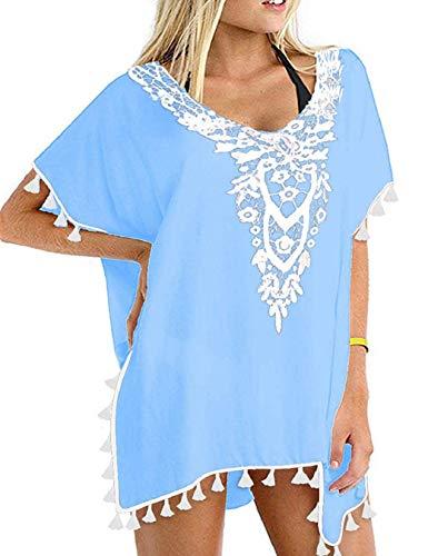 heekpek Mujer Collar de Flores Vestido de Playa Vestido Ropa de Baño Borla Bikini Cover up Camisolas y Pareos
