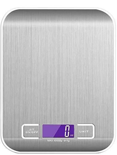 CHIC-FANTASY Báscula de cocina digital multi escala, hasta 10 kgs: Oz, ml, gr Color Plata de Acero inoxidable (pilas incluidas) Pantalla de LED blanca.