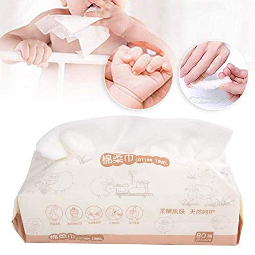 Lot de 80 serviettes jetables en tissu non tissé pour le nettoyage du visage et le maquillage