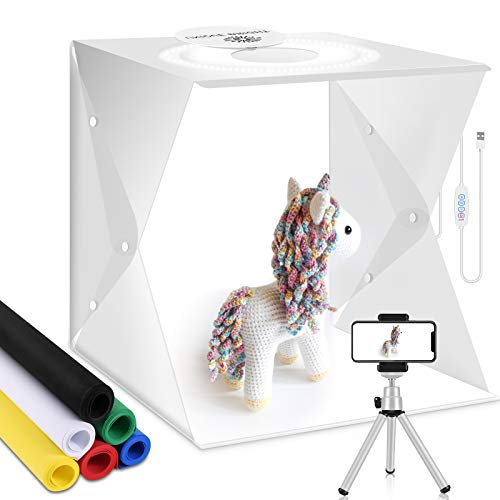 Caja de luz fotográfica Kit de Estudio fotográfico Cabina de iluminación Caja de luz portátil Mini trípode Carpa Plegable Cubo de Mesa 128 LED para Comida,Joyería,Pastel,Toma de fotografías(30x30cm)