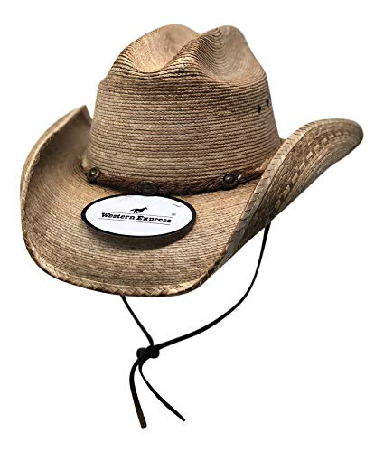 WESTERN EXPRESS Cattleman Palm Sonora Cowboy Hat - Rope Band Conchos with Leather Chin Strap Extra Large Brown