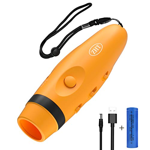 ZHT Electronic Whistle 3-Tones Rechargeable 2000mAh, Coaches Whistles Referee Whistle Battery Whistle Handheld Whistle for Sports Training Pets Training Flash Light Camping Whistle. (Orange)