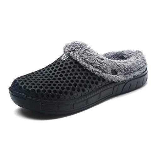 HangFan Zuecos de Las Mujeres de los Hombres Zuecos en los Zapatos de jardín Zuecos de Piel en los Tobillos Chanclas Cálido Zapatilla de Invierno Black Fur-45
