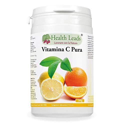 Pura vitamina C in polvere (acido ascorbico) - Aiuta a mantenere regolare la funzione del sistema immunitario - Per pelle e denti più sani - Vegana, senza OGM, senza glutine - 1 x 240 g