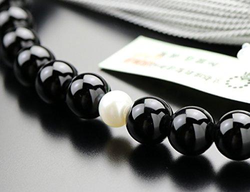 念珠ドットコム『数珠女性用約7ミリ黒オニキス2天淡水パール正絹2色房(2000200200291)』