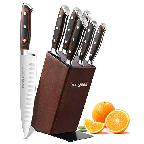 Kitchen Knife Set 7 Pieces with Oak Wooden Block and Pakkawood Handle, homgeek High Carbon 1.4116 Stainless Steel Professional Sharp Chef Knife Block Set Forged, Full-Tang Design