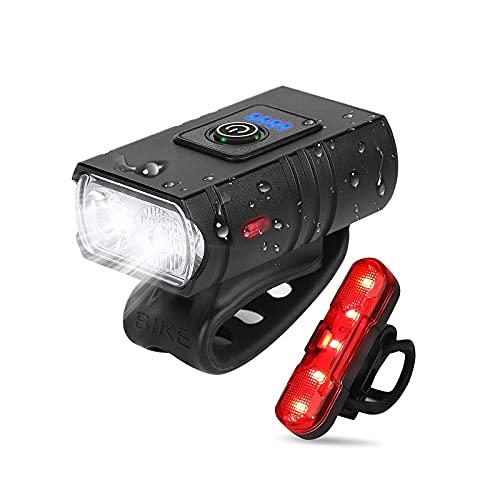 ZHONGPIN Luces de Ciclo Recargables por USB Luz Delantera súper Brillante a Prueba de Agua y LED Trasera Trasera, 6 Modos de luz Juego de Luces de Bicicleta Se Adapta a Todas Las Bicicletas