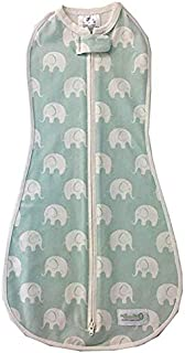 The Original Woombie Baby Swaddle Blanket, Serene Elephant, 5-13 lbs