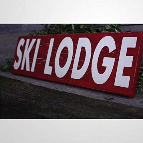 BYRON HOYLE Ski Lodge Wood Sign Wooden Wall Hanging Art Inspirational Farmhouse Wall Plaque product image