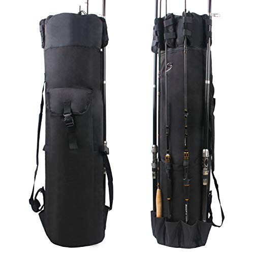 Shaddock Fishing Canna da Pesca con Mulinello Custodia Organizer per Canna da Pesca Morbido di Carrier Holder Pole Attrezzi Pesca Tacklestorage Bags (Nero)