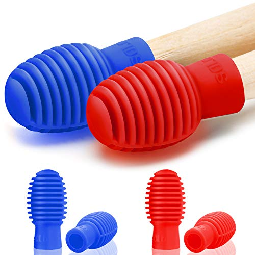 4 Pieces Drum Mute Drum Dampener Silicone Drumstick Silent Practice Tips Percussion Accessory Mute Replacement Musical Instruments Accessory (Blue, Red)