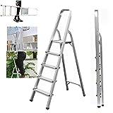 5 Step Ladder Aluminium Heavy Duty 150KG/330lb Capacity Lightweight Folding Portable Anti-Slip Safety 5 Tread Stepladder for Home Garden Office Garage DIY