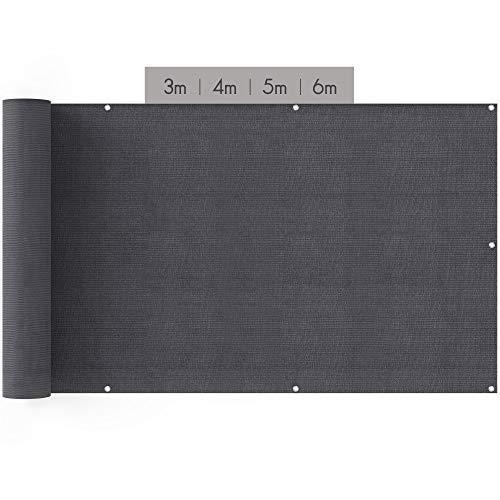 suntura® Balkon Sichtschutz [90x400cm] | inkl. Kabelbinder und Seil | UV-Schutz | Windschutz | Leicht Transparent | Balkonsichtschutz auch für Terrasse & Zaun