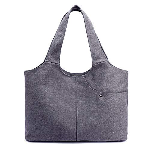 Gran capacidad bolsa de mano de lona bolso de hombro casual bolso Hobo bolsos de moda para mujeres viajes, gris (gris), Large