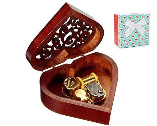 Cuzit - Caja de música de madera con forma de corazón, regalo para Navidad, cumpleaños, día de San Valentín, aniversario de boda, día de la madre