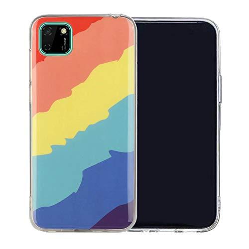 Miagon Bunt Kunst Regenbogen Hülle für Huawei Y5P,Ultra Dünn Silikon TPU Schutzhülle Handyhülle Weiche Stoßfest Anti-Scratch Cover,Köper