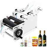 Hanchen Manual Round Bottle Labeling Machine Adjustable Labeler Label Applicator Machine 20-40pcs/min MT-30 for Width 10-110mm Length 10-300mm Label