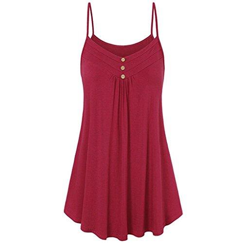 iHENGH Damen Sommer lose Knopf V-Ausschnitt Cami Tank Tops Weste Bluse(Large,Rot)