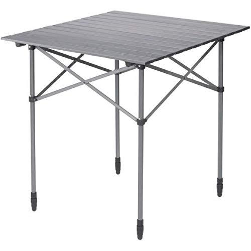 BERGER Campingtisch mit rollbarer Tischplatte, Silber, Aluminium, Tischfläche 70 x 70 cm, kleines Packmaß