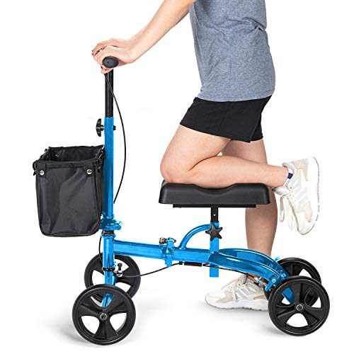OasisSpace Steerable Knee Walker, Economy Knee Scooter for Foot Injuries Ankles Surgery (Blue)