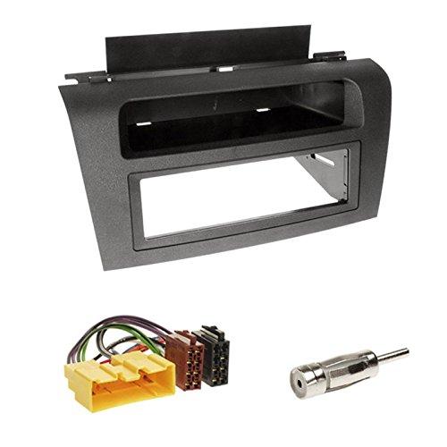Einbauset : Autoradio 1-DIN Blende Einbaurahmen Radioblende mit Ablagefach schwarz + ISO Radio Adapter Kabel Adapterkabel + Antennenadapter für Mazda 3 (Typ BK) 10/2003 - 2008