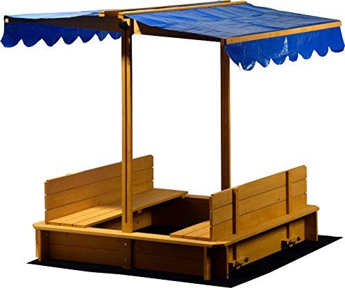 Dobar 94357FSC Sandkasten mit schwenkbarem Dach, Sitzbänke, Bodenplane, verschließbare Sandkiste aus Holz für Kinder, 120 x 120 x 120 cm, hellbraun